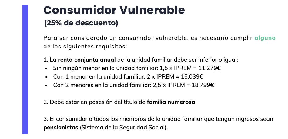 Bono social eléctrico: consumidor vulnerable (requisitos)