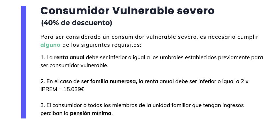 Bono social eléctrico: consumidor vulnerable severo (requisitos)