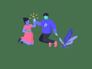 Pareja de hombre y mujer saltando celebrando