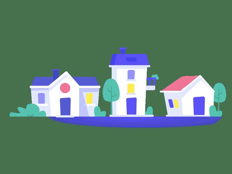 Casas de colores alineadas